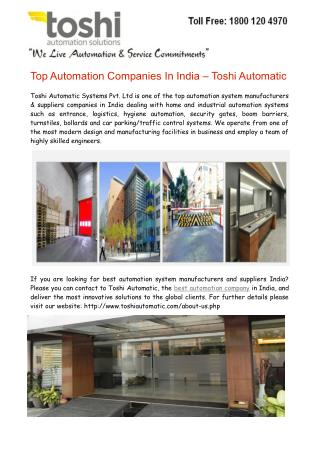 Top Automation Companies In India – Toshi Automatic
