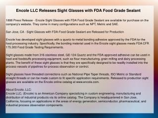 Encole LLC Releases Sight Glasses with FDA Food Grade Sealant