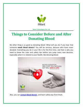 Things To Consider Before and After Donating Blood