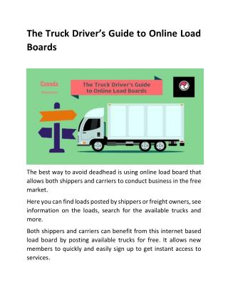 The truck driver�s guide to online load boards