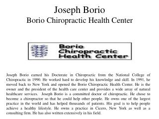 Joseph Borio - Borio Chiropractic Health Center