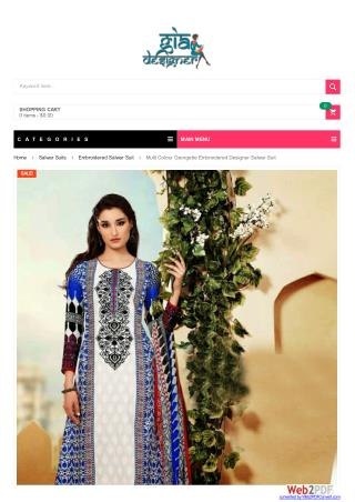Multi Colour Georgette Embroidered Designer Salwar Suit