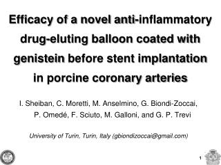 Efficacy of a novel anti-inflammatory drug-eluting balloon coated with genistein before stent implantation in porcine co