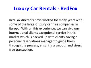Rent Luxury Cars