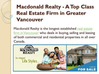 Macdonald Realty - A Top Class Real Estate Firm in Greater Vancouver