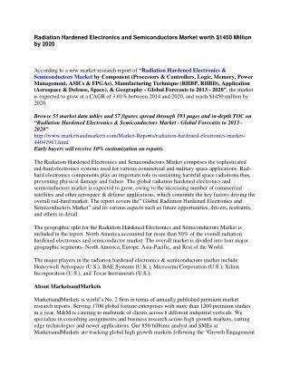 Radiation Hardened Electronics and Semiconductors Market worth $1450 Million by 2020