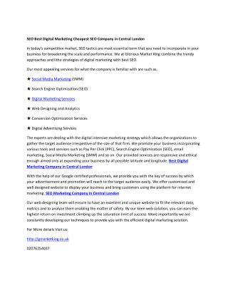 SEO Best Digital Marketing Cheapest SEO Company in Central London
