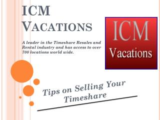 ICM Vacations Tips on Selling your Timeshare