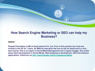 How Search Engine Marketing or SEO can Help My Business?