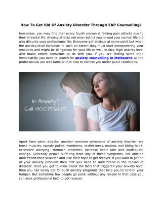 How to get rid of anxiety disorder through EAP counselling?