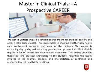 Masters in Clinical Trails For Career Prospective