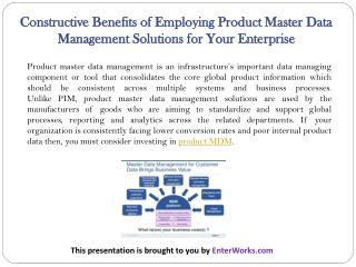 Constructive Benefits of Employing Product Master Data Management Solutions for Your Enterprise