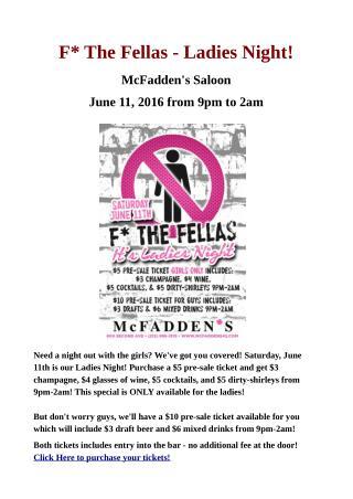 Ladies Night Event - McFadden's Saloon NYC