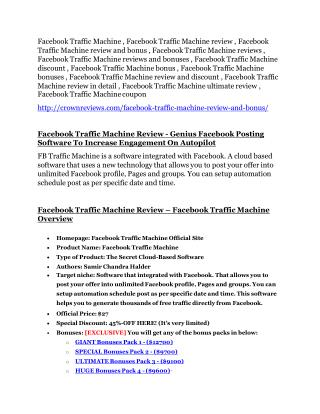 Facebook Traffic Machine review-(SHOCKED) $21700 bonuses