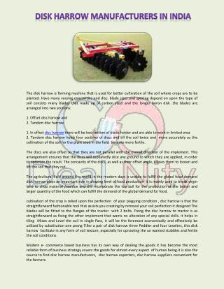 Disc Harrow Manufacturers & Suppliers in India