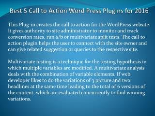 Best 5 Call to Action Word Press Plugins for 2016