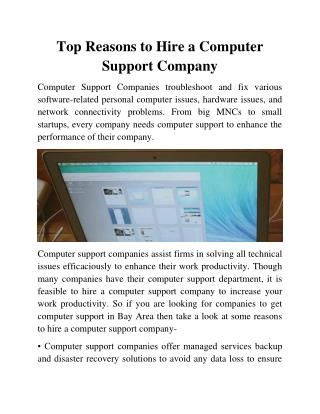 Top Reasons to Hire a Computer Support Company