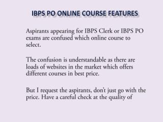 IBPS PO Online Course Features