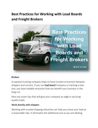 Best Practices for Working with Load Boards and Freight Brokers