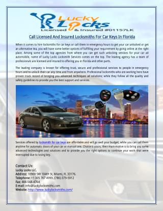 Call Licensed And Insured Locksmiths For Car Keys In Florida