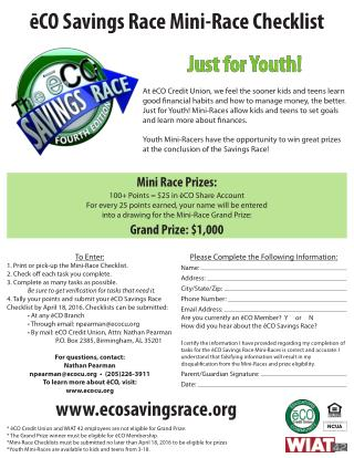 eCO Savings Race Mini-Race Checklist - Jefferson County