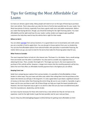 Tips for Getting the Most Affordable Car Loans