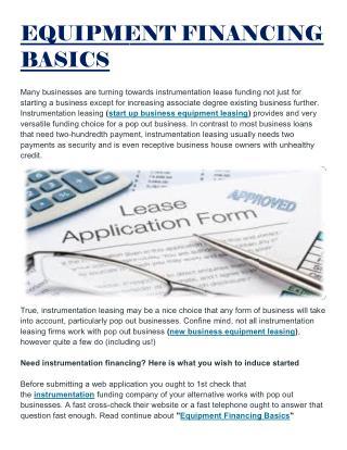 Equipment Financing Basics