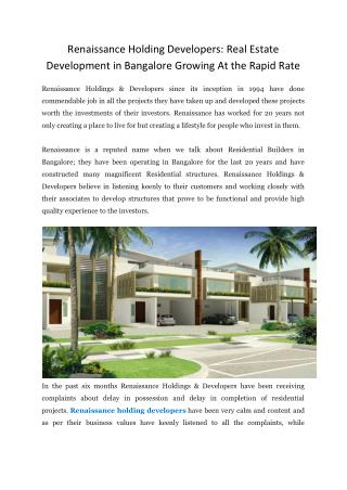 Renaissance Holding Developers: Real Estate Development in Bangalore Growing At the Rapid Rate