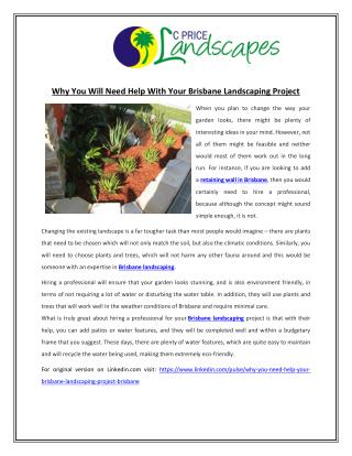 Why You Will Need Help With Your Brisbane Landscaping Project
