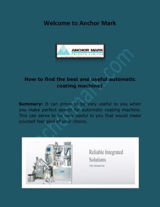 Pharma R&D Equipments, Automatic Coating Machine