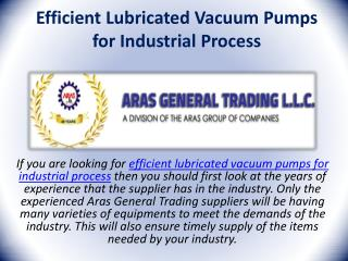 Efficient Lubricated Vacuum Pumps for Industrial Process