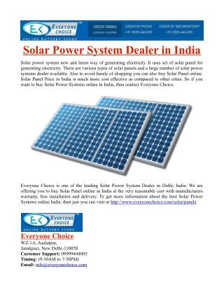 Solar Power System Dealer in India