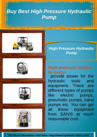 Buy Best High Pressure Hydraulic Pump