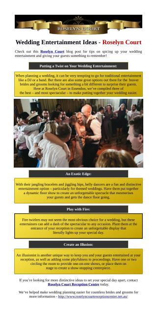 Wedding Entertainment Ideas - Roselyn Court