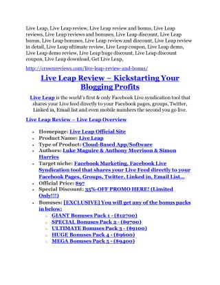 Live Leap Review and Premium $14,700 Bonus