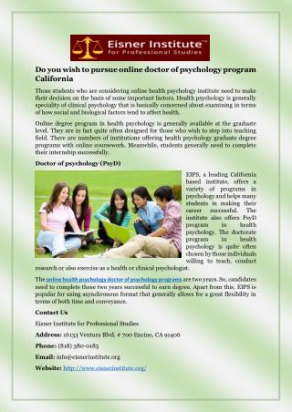 Do you wish to pursue online doctor of psychology program California