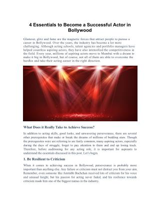 4 Essentials to Become a Successful Actor in Bollywood