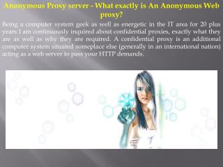 Anonymous Proxy server - What exactly is An Anonymous Web proxy