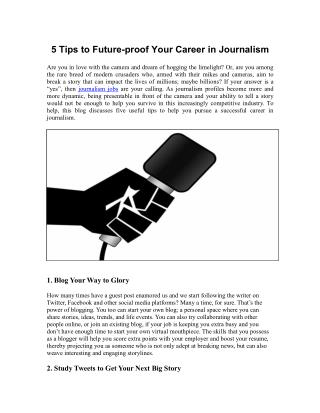 5 Tips to Future-proof Your Career in Journalism