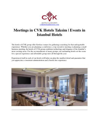 Events in Istanbul Hotels