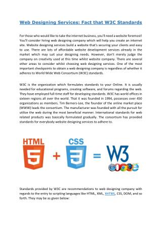 Web Designing Services: Fact that W3C Standards
