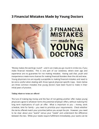 3 Financial Mistakes Made by Young Doctors