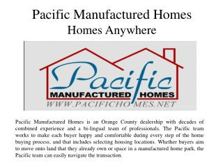 Pacific Manufactured Homes - Homes Anywhere