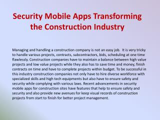 Security Mobile Apps Transforming the Construction�Industry