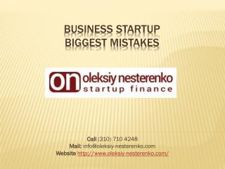Business Startup Mistakes - Oleksiy Nesterenko