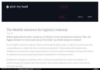 The Mobile Solutions for Logistics Industry