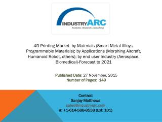4D Printing Market: wide scope of applications in medicine for implants and reconstruction surgeries.