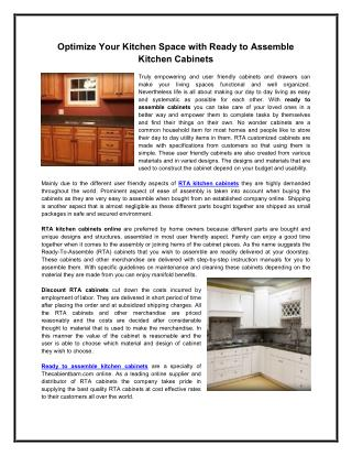 Optimize Your Kitchen Space with Ready to Assemble Kitchen Cabinets