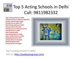 Top 5 Acting Schools in Delhi, Film Institute Delhi, Modeling Classes in Delhi