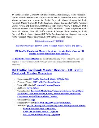 IM Traffic Facebook Master review and (MEGA) bonuses – IM Traffic Facebook Master